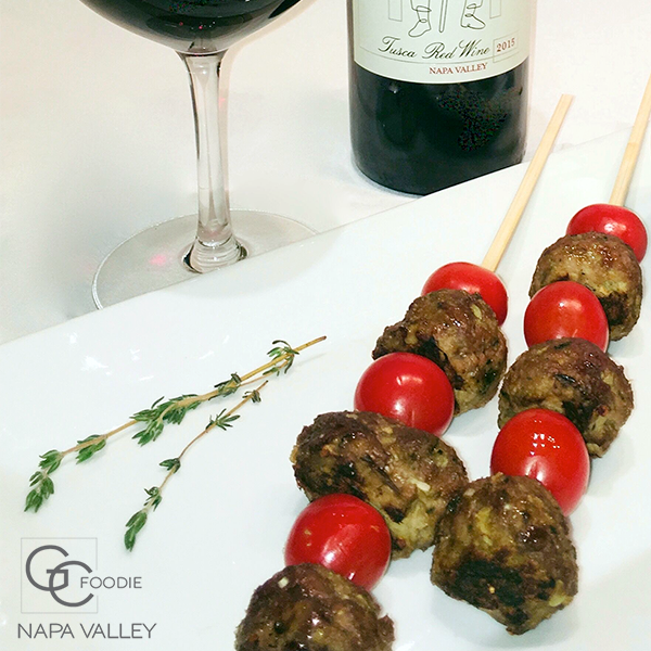Sesame wild mint honey glazed lamb meatball skewers