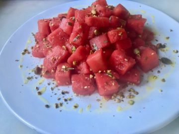 Wild Fennel Sea Salt Cured Watermelon with Orange Olive Oil and Toasted Pistachios